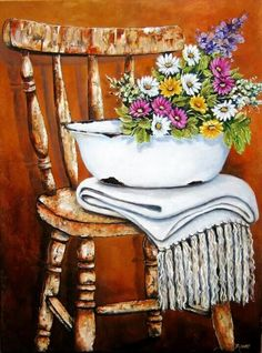 Stella Bruwer white enamel basin folded white throw summer flowers in white pink and light purple on shabby wooden chair Tole Painting, Painting & Drawing, Watercolor Paintings, Decoupage Vintage, Beautiful Flower Arrangements, 5d Diamond Painting, Easy Paintings, Summer Flowers, Vintage Flowers