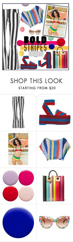 """""""Bold Stripes ReImagined"""" by fassionista ❤ liked on Polyvore featuring Marques'Almeida, STELLA McCARTNEY, Mara Hoffman, Nails Inc., Sophie Hulme, Jin Soon and MaxMara"""