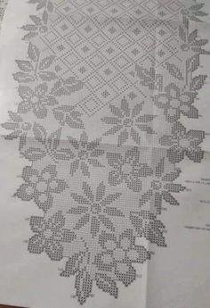 Crochet Tablecloth Pattern, Crochet Doily Diagram, Crochet Edging Patterns, Crochet Curtains, Crochet Doilies, Embroidery Patterns, Knit Crochet, Crochet Christmas Decorations, Fillet Crochet