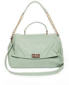 Peaseblossom Mint Handbag. gold chain detail. $50