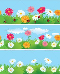 Buy 3 Seamless Borders with Ox-Eye Daisy Flowers by on GraphicRiver. 3 seamless borders with ox-eye daisy flowers and ladybirds. This image is a vector illustration and can be scaled to . Sight Word Wall, Background Clipart, Backdrop Background, Vector Border, Birthday Charts, School Murals, School Decorations, Stencil Designs, Art Google