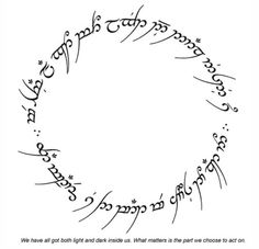 Done in red Elvish|Lord of the Rings