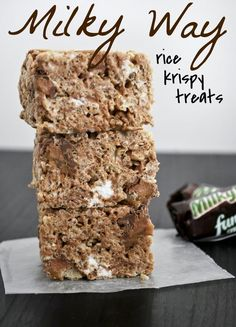 Milky Way Rice Krispy Treats (Mallow and Co.) – Rebecca Hendrickson Milky Way Rice Krispy Treats (Mallow and Co.) Milky Way Rice Krispy Treats…Made for July and they were gone in a flash. Rice Krispy Treats Recipe, Rice Crispy Treats, Krispie Treats, Rice Crispy Cereal, Rice Krispies, Rice Krispie Bars, Köstliche Desserts, Delicious Desserts, Dessert Recipes