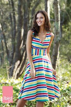 Twirl into a day of sunshine and delight as you show off your new summer style. Bold Stripes, Knee Length Dresses, Style Guides, Dresses Online, Personal Style, Wrap Dress, Gowns, My Style, Outfits