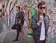 Bershka Leather Jacket, Stroili Oro Bracelets, Bershka T Shirt, Rigin Jeans, H&M Shoes