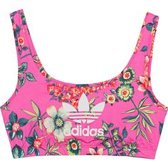 ADIDAS ORIGINALS Jardineto Multi // Printed stretch bustier ($31) ❤ liked on Polyvore featuring tops, shirts, underwear, accessories, jersey top, polyester shirt, white bustier top, floral shirt and white floral shirt