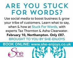 What will you say online and offline about your business for the next 6 months to create an impression and result?  Create a strategy, with like minded women for just £87!  http://www.she-enjoys.co.uk/calendar/61/23-EXPERT-EDUCATION-DAY-Stuck-for-Words.html