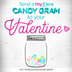 Spread #joy to your friends and loved ones this #ValentinesDay with the myFace candy gram! Make your gift in honor of your loved one and they'll receive a personalized digital candy gram! 100% of your gift goes to supporting the #craniofacial community! #love #vday #valentinesdaygiftideas