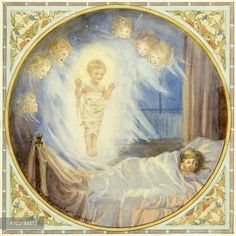 'The Christmas Dream' - child asleep in bed with vision of Jesus and Angels. Christmas card.
