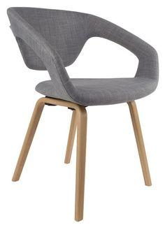 Zuiver+Flex+Back+Spisestuestol+-+Grå+-+Skulpturel+og+moderne+spisebordsstol+med+umalede+træben+og+sæde+i+gråt+stof.+En+smuk+stol,+der+passer+godt+ind+i+det+moderne+hjem.+Fåes+også+med+sortmalede+træben.