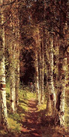 Березовая аллея в Абрамцеве / The Birchwood Alley (1880) by Vasily Dmitrievich Polenov (b. Васи́лий Дми́триевич  Поле́нов, (May 20 [1 June] 1844, Saint Petersburg - July 18, 1927, the estate Borok, Tula region) Oil on canvas. Location: Abramtsevo Colony, Sergiyev Posad, Russia https://en.wikipedia.org/wiki/Vasily_Polenov…