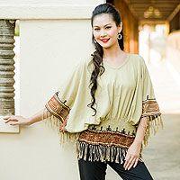 Cotton blouse, 'Hypnotic Beige'