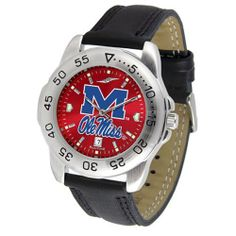 """Mississippi Rebels NCAA AnoChrome """"Sport"""" Mens Watch (Leather Band) SunTime. $53.10. Scratch Resistant Face. Rotation Bezel/Timer. Calendar Date Function"""
