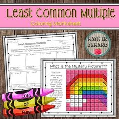 Students will be solving 16 problems on least common multiple (LCM). Students will then color in their answer to reveal a mystery picture. If the answer is not in the mystery picture, then students know that they need to go back and check their answer. Adding And Subtracting Integers, Adding Decimals, 9th Grade Math, Least Common Multiple, Math Coloring Worksheets, Sorting Activities, Mystery, Students, Check