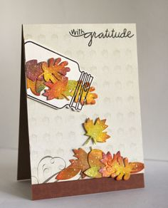 Paper Smooches SPARKS: October November 3 Picture Perfect challenge [no hints---must improvise w/su products] Diy Thanksgiving Cards, Fall Cards, Holiday Cards, Thanksgiving Drinks, Thanksgiving Cookies, Thanksgiving Traditions, Thanksgiving Appetizers, Thanksgiving Holiday, Mason Jar Cards