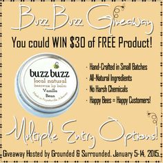 Buzz Buzz LLC has been so generous to provide our readers with another Giveaway opportunity! The winner will receive $30 of FREE Product! Runs from Jan 5-14  Grounded & Surrounded
