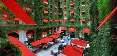 This looks like a lovely place to cool off on a hot day in Paris! It's La Cour Jardin at Plaza Athenee (open for lunch and dinner).