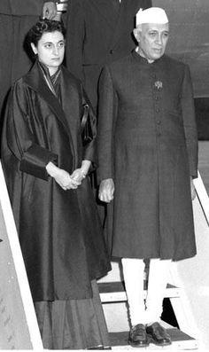 Jawaharlal Nehru with Indira Gandhi.