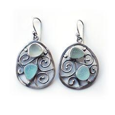 Seafoam sea glass earrings by Tania Covo