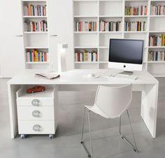 Modern desks all in white