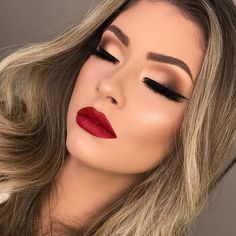 red lipstick looks - get ready for a new kind of magic 8 ~ my. red lipstick looks - get ready fo. Red Lipstick Looks, Red Lips Makeup Look, Red Lipstick Makeup, Glam Makeup Look, Wedding Makeup Looks, Blue Eye Makeup, Makeup For Brown Eyes, Eyeshadow Makeup, Bridal Makeup Red Lips