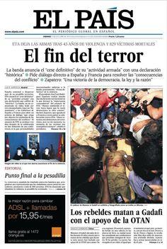 "Portada 21 de octubre de 2011: ""El fin del terror"""