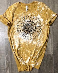 Bleach T Shirts, Vinyl Shirts, Bleach Pen, Tee Shirts, Sunflower Shirt, T Shirt Painting, Sublime Shirt, Fall Shirts, Tee Shirt Designs