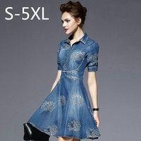 Wish   S-5XL 2016 Summer Autumn Vintage Half Sleeve Slim Dress Plus Size Clothing Embroidered Vestidos Jeans Dress