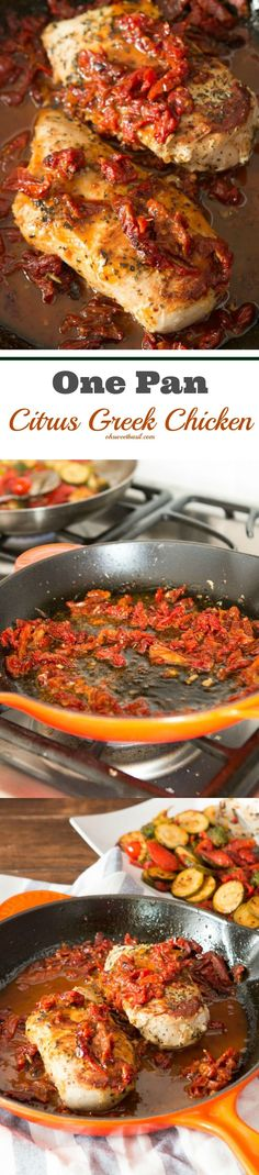 Just one pan citrus Greek chicken with sun-dried tomatoes! It's so delicious! ohsweetbasil.com