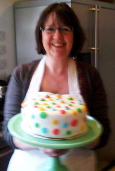 A very blurry me and dotty cake!