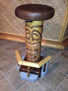 "Belly Up Tiki 30"" Wood Carved Bar Stool"