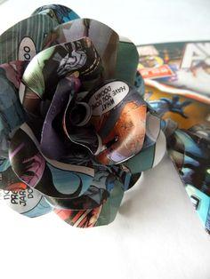 6 Comic Book Roses Paper Flower Roses - Marvel or DC Comic Books - Handmade Paper Flowers, Superhero Themed Wedding, Fun Wedding Flowers