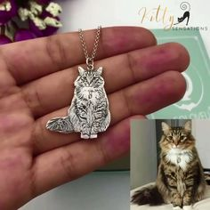 This beautiful Sterling Silver cat necklace is entirely modeled after your cat! The perfect gift for any cat owner, this cat accessory also features a heartful engraving on the back of the pendant. Treat yourself or a crazy cat lady friend to this personalized kitty pendant and enjoy free worldwide shipping for a limited time!  #catnecklace #catendant #personalized #personalizedgift #personalizedcatproduct #customgift #customized #handmade #catjewelry #crazycatladygift