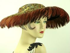 VINTAGE HAT 1950s ALL FEATHER, NEW LOOK WIDE BRIM FRINGED PICTURE HAT, STUNNING! |