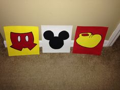 Diy Mickey Mouse clubhouse birthday party , recycled cereal box painted to hang on the wall.