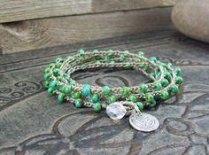Bohemian Jewelry Crochet Bracelet 5x Wrap by JunoniaDesigns, $38.00