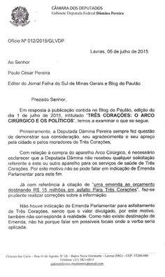 Folha do Sul - Blog do Paulão no ar desde 15/4/2012: GABINETE DA DEPUTADA DÂMINA PEREIRA RESPONDE A EST...