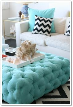 we have the white couch now just need to re-do our ottoman to look like this and it would be perfect!!