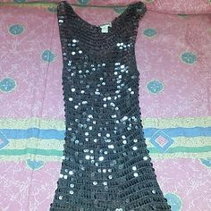 Sequin Mesh Tank Top Brown crochet Rayon tank top adorned with sequins. Tops Tank Tops