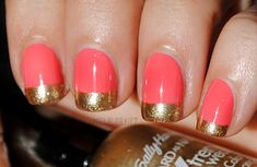 Gold Dipped Coral nails by NailBlog.net!