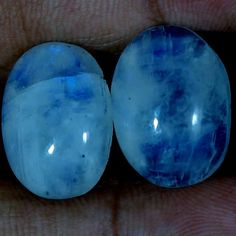 27.65Ct Natural Rainbow Moonstone Matched Pair Oval Cabochon For Earring Jewelry #Handmade
