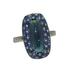 Blue Topaz Ring https://www.goldinart.com/shop/colored-gemstone-rings/blue-topaz-ring #14KaratWhiteGold, #BlueTopazRing, #Diamonds, #Sapphires