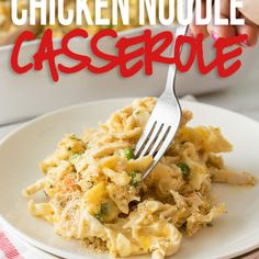 This Easy Chicken Noodle Casserole recipe is filled with the classic comforts of creamy chicken noodle soup, but in a delicious casserole form. This comforting casserole is filled with all the classic flavors of a Easy Casserole Dishes, Tamale Casserole, Chicken Noodle Casserole, Casserole Recipes, Noodle Soup, Tuna Noodle, Instant Pot, Chicken Tamales, Clean Eating Snacks