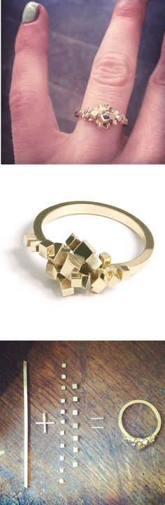 Pixel ring by Sophie Teppema - simple, gold /silver would be nice