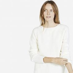 The Chunky Wool Wide Crew Neck - Everlane. The ivory is a creamy color and pairs well with my jeans and boots.