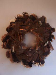 "Handmade Wall Decor Wild TURKEY FEATHER WREATH 20"" Thanksgiving Fall Decoration"