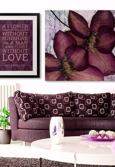 Love the purple tones and inspiring quote in this room.