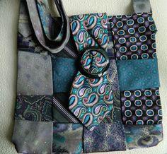 Upcycled Tie Bag   Teal Black Purple Bag . Large by lynnedowns