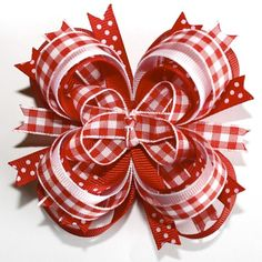 Southern Country Girl Red and White Checkered Stacked Boutique Hair Bow