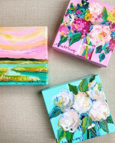 Love these colorful mini acrylic paintings! The mini floral canvas would be so cute on a bookcase or an end table and I love the mini marsh painting for a guest bedroom! Acrylic Painting Flowers, Acrylic Painting Canvas, Painted Canvas, Painting Abstract, Spray Painting, Painting Art, Small Paintings, Floral Paintings, Mini Canvas Art